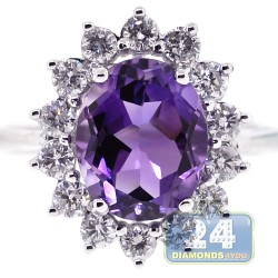 18K White Gold 4.31 ct Diamond Purple Amethyst Womens Ring