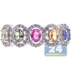 18K White Gold 1.46 ct Diamond Rainbow Sapphire Womens Ring
