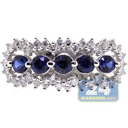 18K White Gold 1.24 ct Diamond Blue Sapphire Womens Ring
