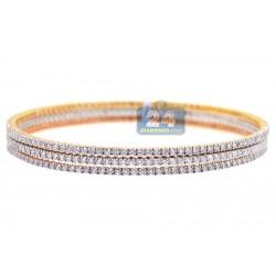 18K Three Tone Gold 6.40 ct Diamond Womens Triple Bangle Bracelet