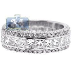 18K White Gold 4.25 ct Diamond Womens Wedding Eternity Ring