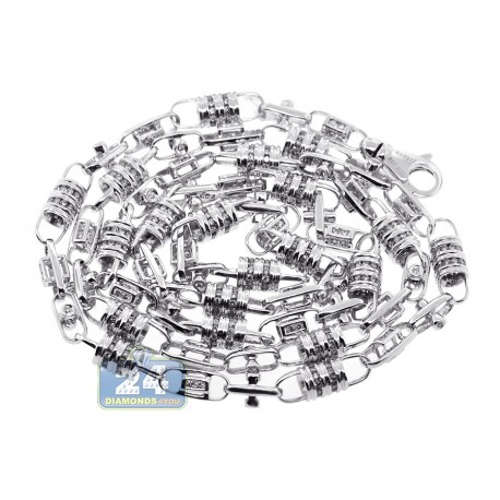 Mens Diamond Bead Link Chain Necklace 14K White Gold 6.09ct 30""