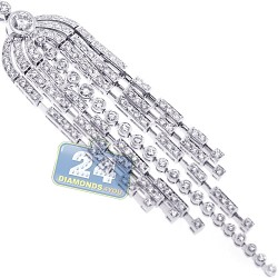 18K White Gold 3.07 ct Diamond Womens Tassel Pendant Necklace