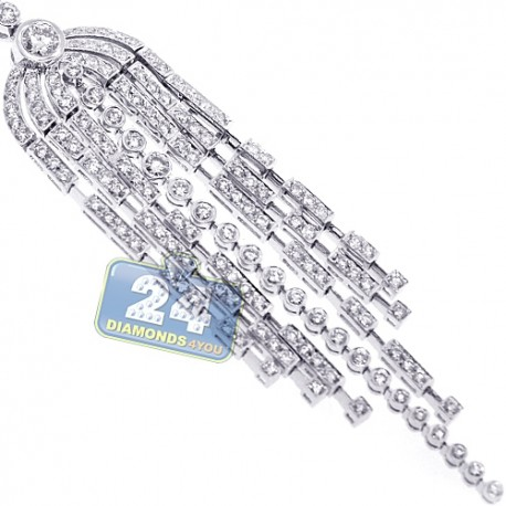 Womens Diamond Tassel Pendant Necklace 18K White Gold 3.07ct