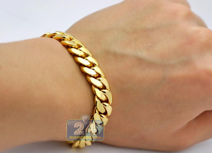 Solid 10k Yellow Gold Miami Cuban Link Mens Bracelet 11mm 9
