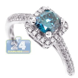 18K White Gold 1.14 ct Cushion Blue Diamond Womens Engagement Ring