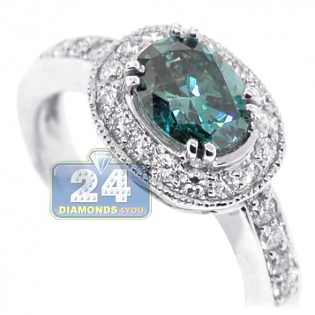 18K White Gold 2.88 ct Oval Blue Diamond Womens Engagement Ring