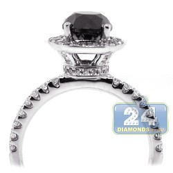 18K White Gold 2.13 ct Round Black Diamond Womens Engagement Ring