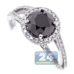 18K White Gold 1.98 ct Black Diamond Womens Engagement Ring