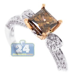 18K Gold 1.52 ct Princess Brown Diamond Womens Engagement Ring