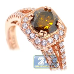 14K Rose Gold 1.65 ct Brown Diamond Womens Engagement Ring
