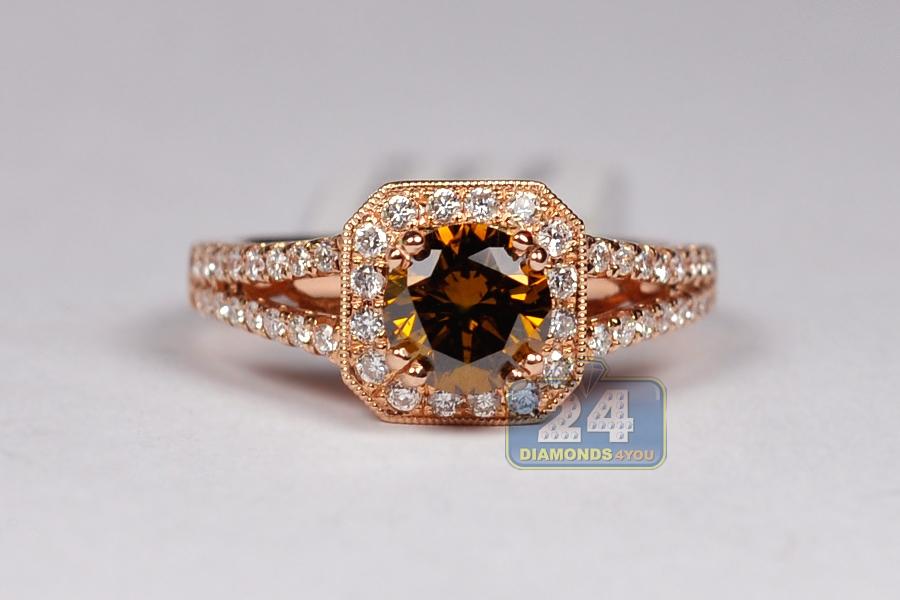 Womens Brown Diamond Engagement Ring 14K Rose Gold 1.65 ct