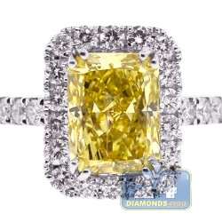 18K White Gold 3.30 ct Yellow Emerald Diamond Engagement Ring