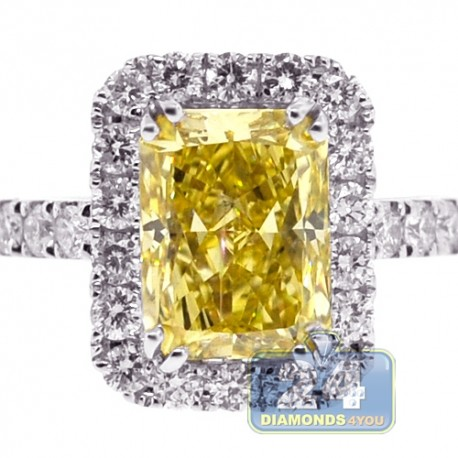 18K White Gold 3.30 ct Yellow Emerald Diamond Womens Engagement Ring