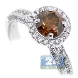 14K White Gold 1.49 ct Brown Diamond Womens Engagement Ring