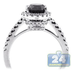 18K White Gold 2.14 ct Black Diamond Womens Engagement Ring