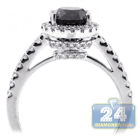 18K White Gold 2.14 ct Black Diamond Womens Engagement Ring