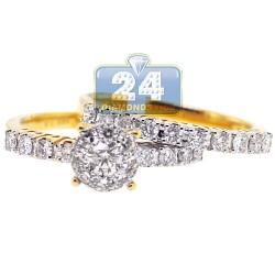 14K Yellow Gold 1.26 ct Diamond Wedding Set of 2 Womens Rings