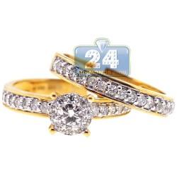 14K Yellow Gold 0.89 ct Diamond Womens Engagement 2 Rings Set