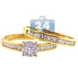 14K Yellow Gold 0.73 ct Diamond Womens Bridal Two-Ring Set