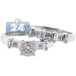 14K White Gold 0.81 ct Diamond Womens Engagement 2-Rings Set