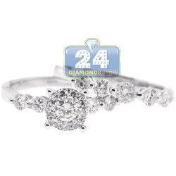 14K White Gold 1.44 ct Diamond Womens Bridal 2-Ring Set