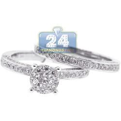 14K White Gold 1.69 ct Diamond Womens Engagement Set of 2 Rings