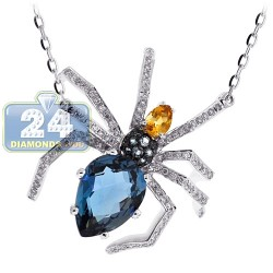 18K White Gold 4.87 ct Diamond Gemstone Womens Spider Pendant