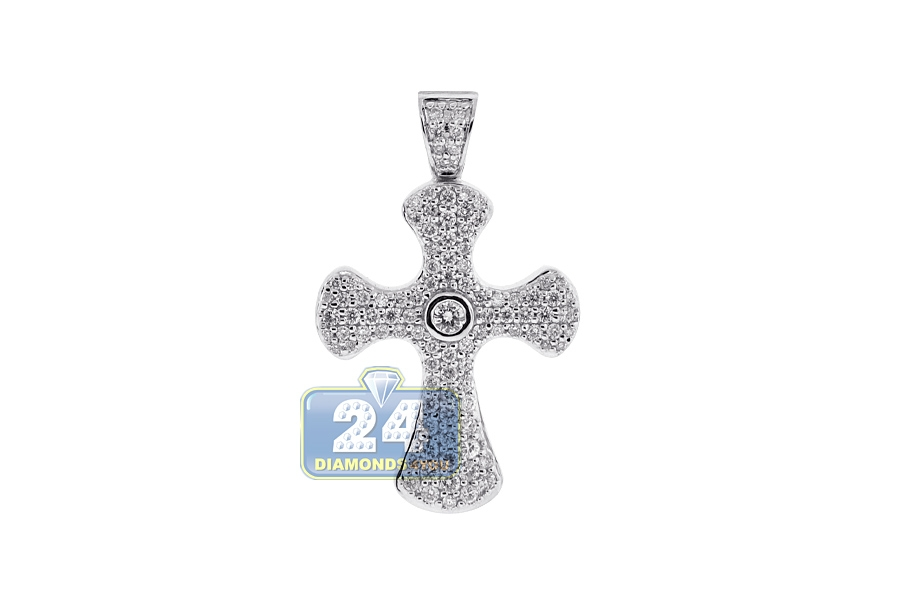 Mens diamond byzantine cross pendant necklace 18k white gold mozeypictures Image collections