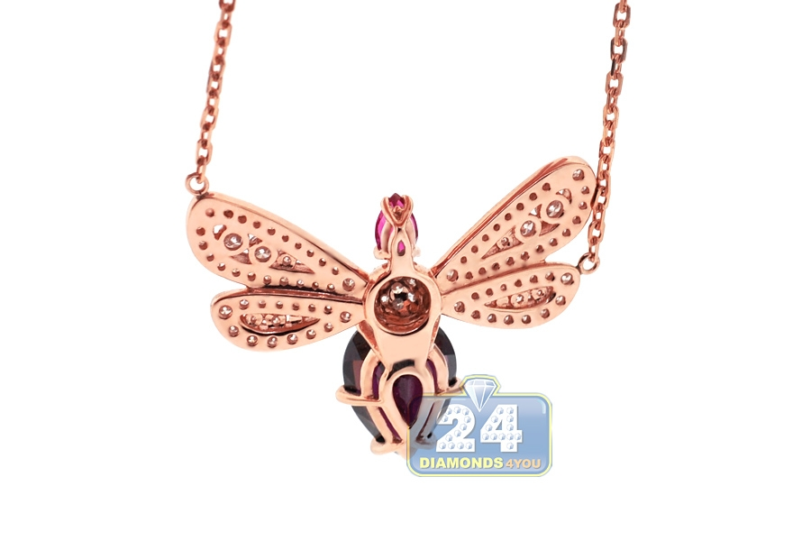 Womens Diamond Gemstone Butterfly Pendant 18k Rose Gold 2 16ct