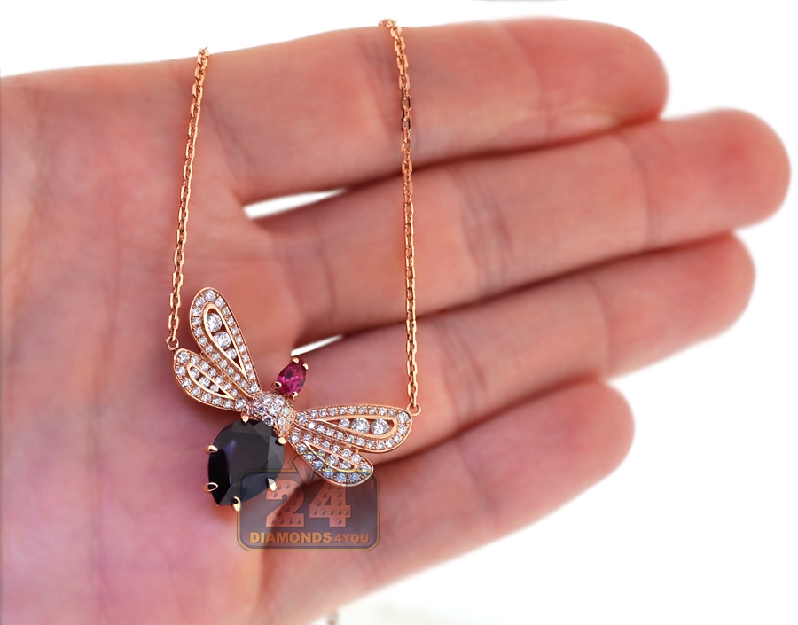 Womens Diamond Gemstone Butterfly Pendant 18k Rose Gold 2 16ct