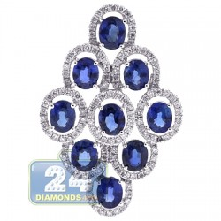 18K White Gold 4.50 ct Diamond Blue Sapphire Womens Pendant