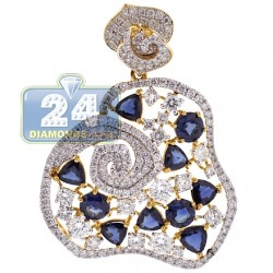 18K Yellow Gold 9.92 ct Diamond Blue Sapphire Womens Pendant