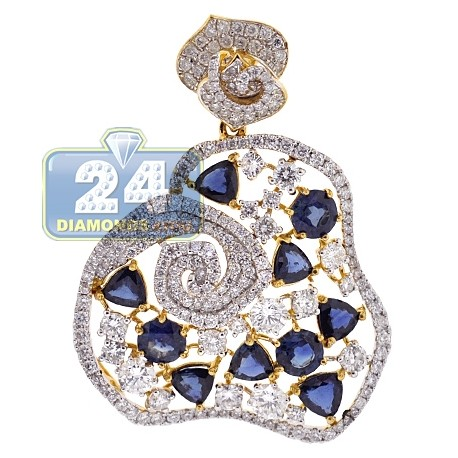 Womens Diamond Sapphire Flower Pendant 18K Yellow Gold 9.92 ct