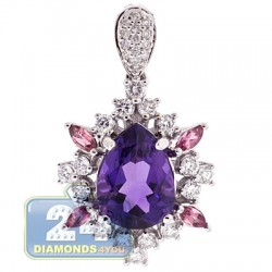 18K White Gold 4.34 ct Diamond Amethyst Sapphire Womens Pendant