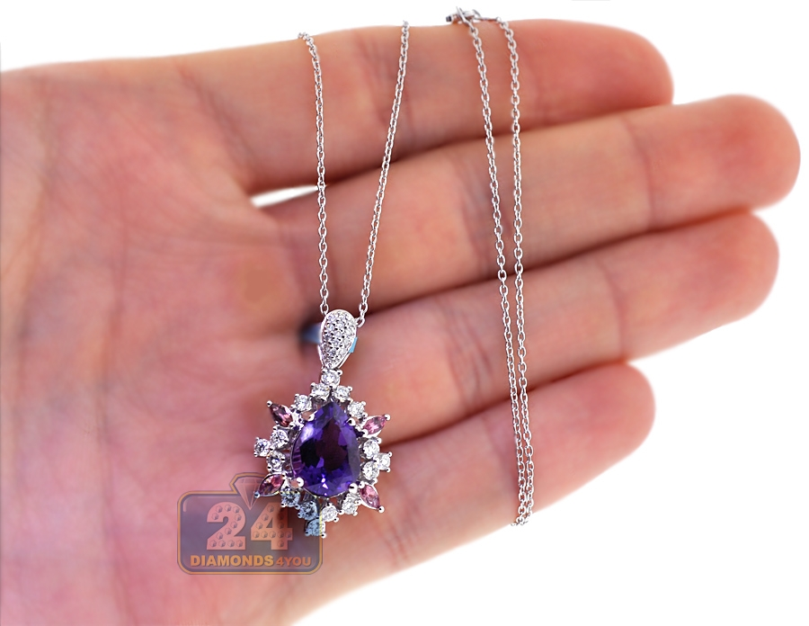 Womens Diamond Amethyst Sapphire Pendant 18k White Gold 4 34ct
