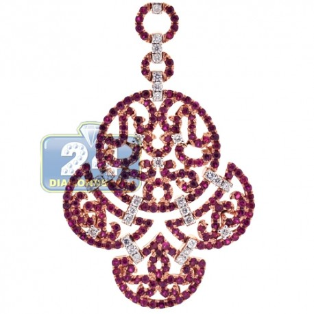 Womens Diamond Ruby Chandelier Pendant 18K Rose Gold 3.26ct