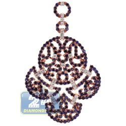 18K Rose Gold 3.54 ct Diamond Sapphire Womens Chandelier Pendant