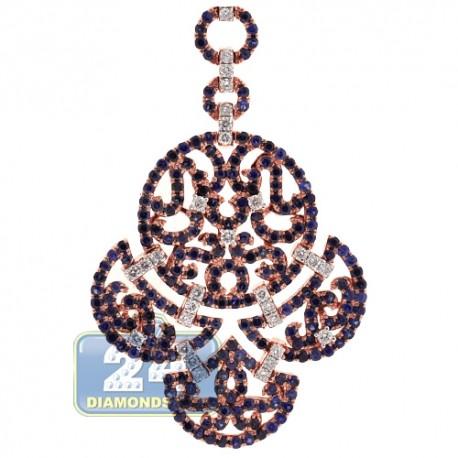 Womens Diamond Sapphire Chandelier Pendant 18K Rose Gold 3.54ct