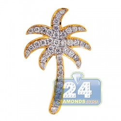 18K Yellow Gold 0.81 ct Diamond Womens Palm Tree Pendant