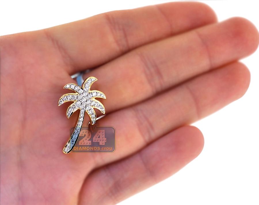 Womens Diamond Palm Tree Pendant Solid 18k Yellow Gold 0 81ct