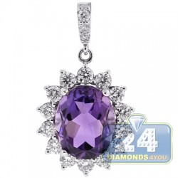 18K White Gold 5.32 ct Diamond Amethyst Womens Pendant