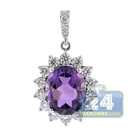 Womens Diamond Purple Amethyst Halo Drop Pendant 18K White Gold