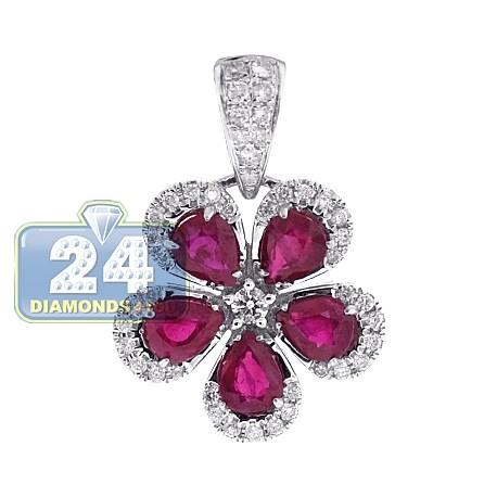 Womens Diamond Ruby Flower Halo Pendant 14K White Gold 2.33ct