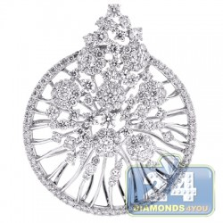 18K White Gold 3.53 ct Diamond Womens Flower Pendant
