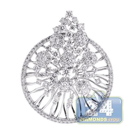 Womens Diamond Round Openwork Pendant 18K White Gold 3.53 ct