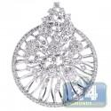 18K White Gold 3.53 ct Diamond Womens Openwork Pendant