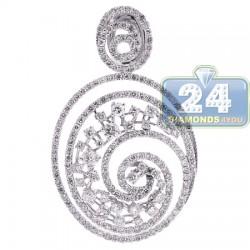 18K White Gold 2.94 ct Diamond Womens Floral Swirl Pendant