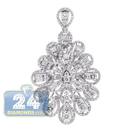 Womens Diamond Cluster Flower Pendant 18K White Gold 3.56 ct