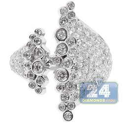 18K White Gold 1.67 ct Diamond Womens Cluster Ring